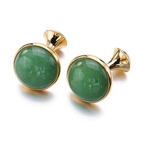 Luxurious cufflinks - with green opal