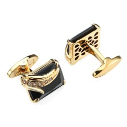 Fashionable cufflinks - with square glass crystal