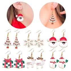 Christmas tree - Santa Claus - snowflakes - christmas metal earrings
