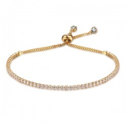 Elegant bracelet - with cubic zirconia - adjustable
