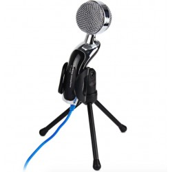 USB Condenser Microphone Mic Studio Audio Sound Recording With Stand Black
