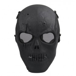 Airsoft Skull Full Protective Military Mask - Black