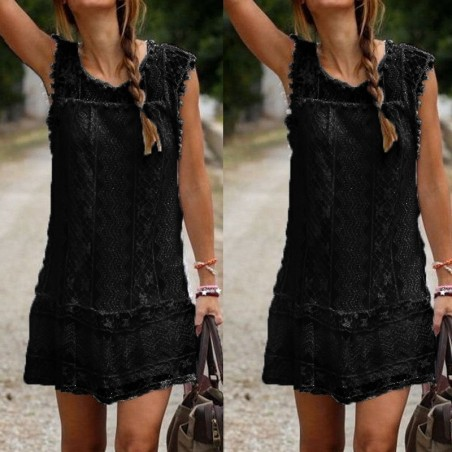 Casual short sleeve lace mini summer dress