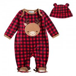 Baby boy & girl fleece long sleeve hooded jumpsuit with hat