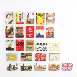 UK England - British style fridge magnets - set 24 pieces