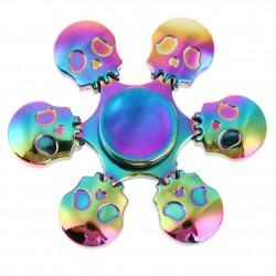 Rainbow skulls - hand fidget spinner - metal