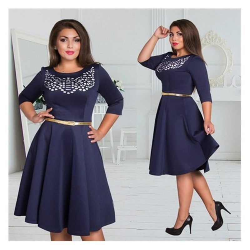 Plus Size A-Line Vintage Elegant Dress
