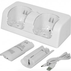 Wii Controller Dual USB Charger Incl 2800 mAh Batteries