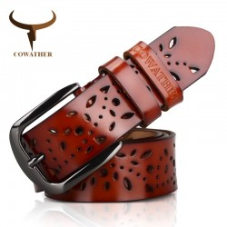 Genuine Leather Hollow Flower Belt
