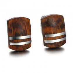Retro rosewood stainless steel cufflinks