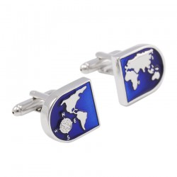 World map design cufflinks