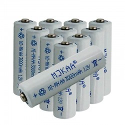 12V Ni-MH AA 3000mAh 2A rechargeable batteries 10 pcs