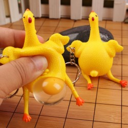 Funny keyring - Green Dinosaur - Beans - Chicken laying egg