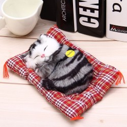 Simulated animal sleeping cat plush toy with sound