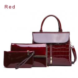 Elegant shiny leather bag set 3 pcs