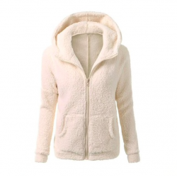 Soft fleece hooded jacket with zipper