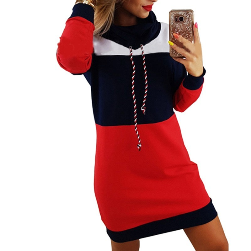 Long striped turtleneck sweatshirt dress