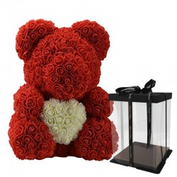 Infinity rose flower teddy bear with heart 40 cm