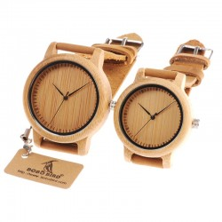 Leather band bamboo Quartz couples watches