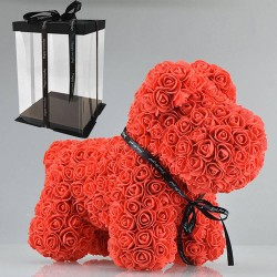 Dog made from infinity roses 40 cm