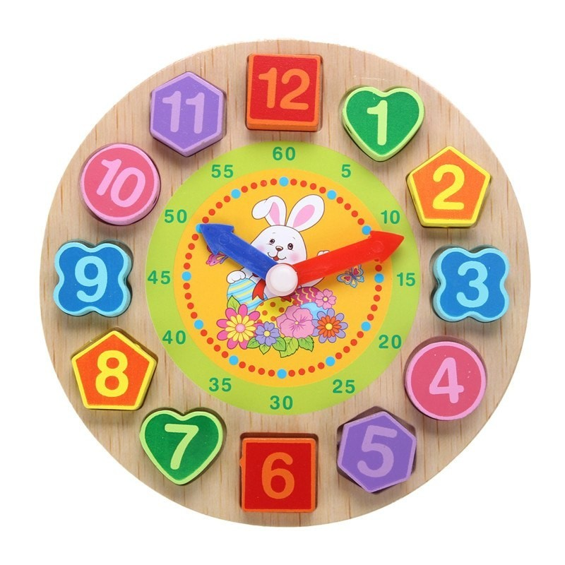 Wooden puzzle clock with 12 numbers toy