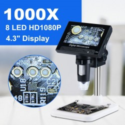 Digital electronic microscope 1000X - 1080p LCD display - 8 LED stand - PCB motherboard repair