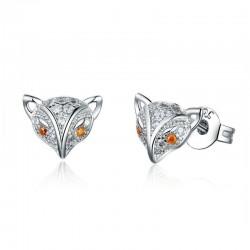 Little crystal fox stud earrings