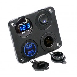 Dual USB socket charger 2.1A+2.1A + 12V & ON-OFF switch LED voltmeter 4 in 1 charger panel for car & motorcycle