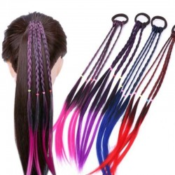 Elastic hair band with braided artificial hair