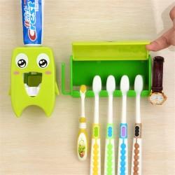 Multifunctional bathroom organiser - toothbrush holder & toothpaste dispenser