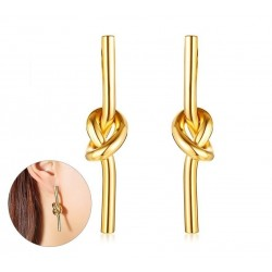 Gold knot drop - stainless steel earrings