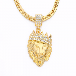 Luxury gold lion head pendant - necklace