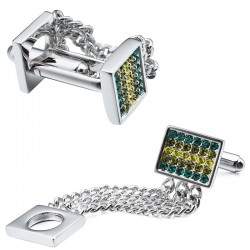 Classic copper & crystal stainless steel cufflinks with chain