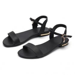 Genuine leather flat sandals