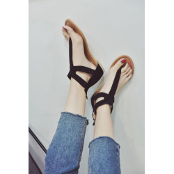 Summer sandals with crystals & zipper