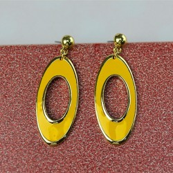 Oval earrings with yellow clay