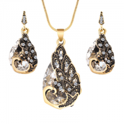 Earrings & necklace with crystal peacock - jewelry set