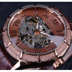 Forsining - skeleton transparent mechanical watch with leather band
