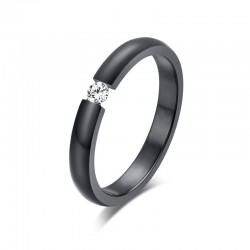 Elegant stainless steel ring with crystal