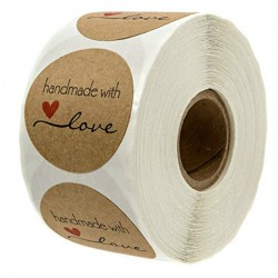 Handmade with Love - natural kraft paper - round stickers - 500 pieces