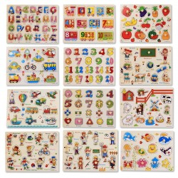Montessori wooden puzzle with handles - educational toy