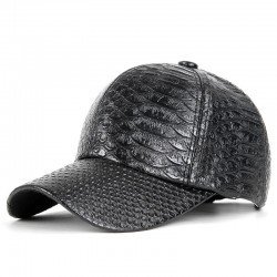Leather baseball cap with crocodile pattern
