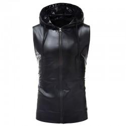 Shiny metallic hoodie - sleeveless vest