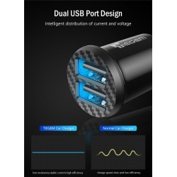 Mini 3.1A universal fast car charger with dual USB