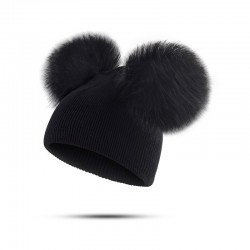 Children's winter hat with fur pom pom