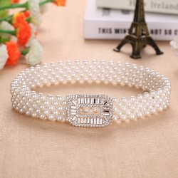 Elegant elastic belt with pearls & crystals