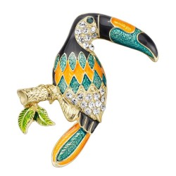 Elegant brooch with crystal toucan bird