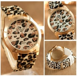 Fashionable stainless steel watch with leopard pattern - silicone band