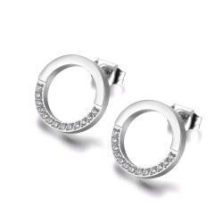 Rose gold & silver round earrings with crystals