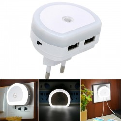 Dual USB port charger with LED night light - light sensor